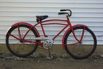 """Old Red"" cruiser bike."