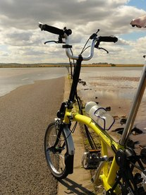 Brompton T6 on Holy Island Causeway