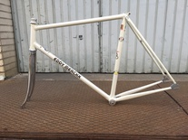 Pearly white merckx track frame photo